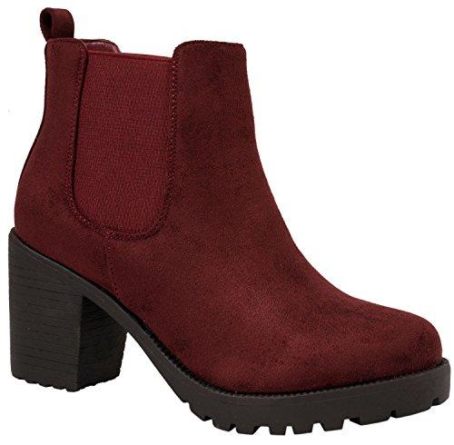 Donna Plateau Stivali Comodo Bordorot Suola Elara Queen Boots Stivaletto Chelsea Foderato Profilo pdTx00q7