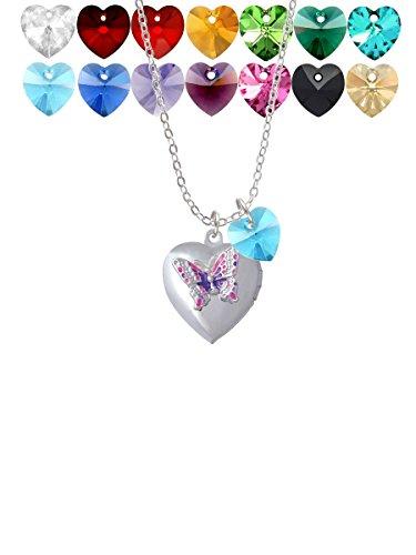 - Pink & Purple Butterfly Locket Custom Crystal Heart Sophia Necklace, 18