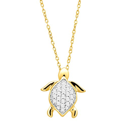 1/10 ct Diamond Turtle Pendant Necklace in 10K ()
