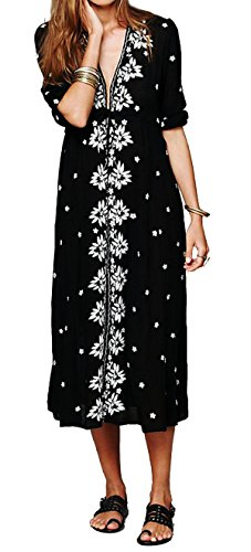 (R.Vivimos Womens Boho Floral Embroidered Casual Drawstring Tie Cotton Long Dresses XXL Black)