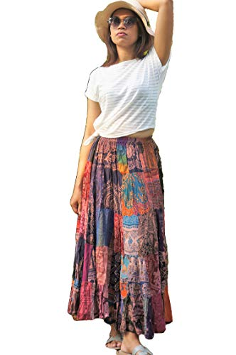 Boho Patchwork Skirt Multi Colored Unique Maxi Gypsy Tiered 100% Silky Rayon ()