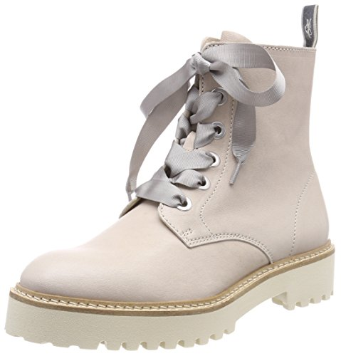Marc O'Polo Women's Lace Flatheel Bootie 80114446301102 Biker Boots, Taupe Grey (Light Grey)