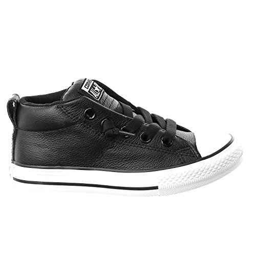 Converse Kids All Star Street Mid Shoes Leather Black White Size 12.5 (Leather Black Converse Shoes)