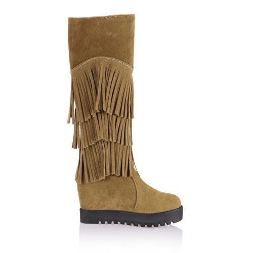 Boots Calf Hidden Shine Apricot Mid Show Platform Heel Tassels High Womens xfqzT
