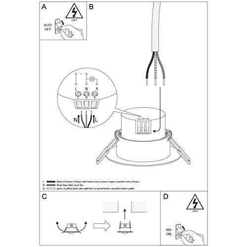 SEBSON® Detector de movimiento empotrable, interior, LED, montaje en techo, programable, sensor de infrarrojos, alcance 3-6m / 360°, max.