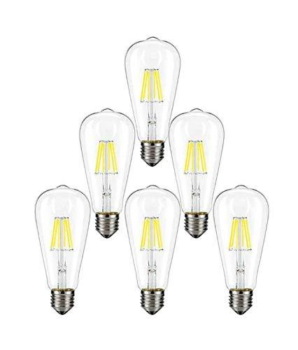 Scope 4 Light Pendant - XPLight 6W LED Edison Bulb,60W Incandescent Equivalent 600LM Daylight White 5000K,E26 Medium Base, ST64 Vintage LED Filament Bulbs,Non-dimmable, Pack of 6