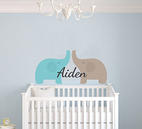 MagicTouch Custom Name Elephants Nursery Wall Decal - MT07 - Removable Nursery Wall Decal For Baby Room - Mural Wall Decal Sticker For Home Children's Bedroom (Wide 40