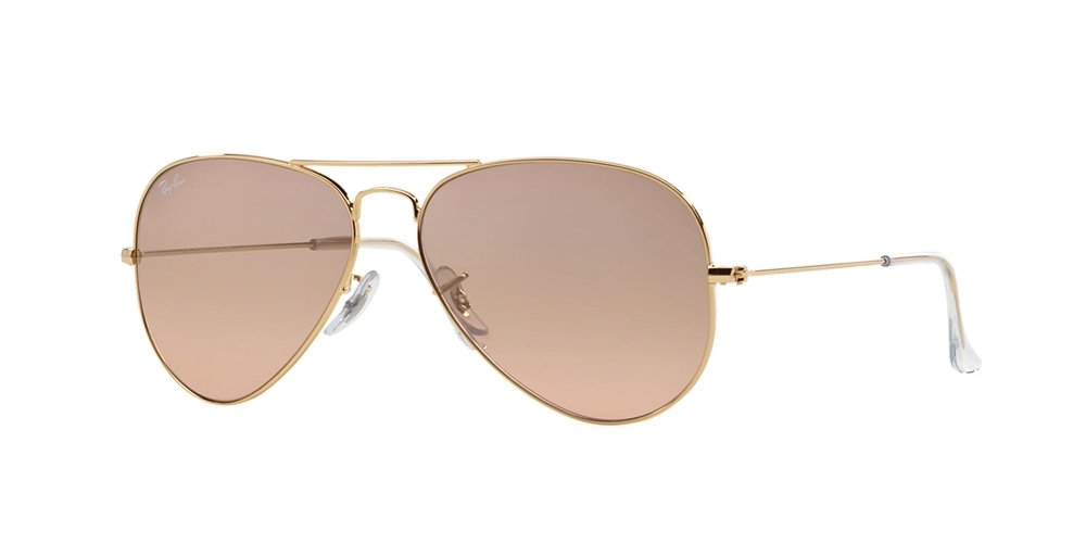 Ray-Ban RB 3025-001/3E Arista Large Metal Aviator Sunglasses with Pink Gold Gradient Mirror Lenses 62mm