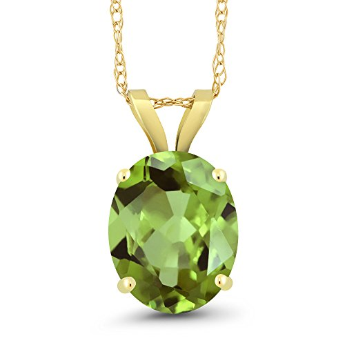 Gem Stone King 3.00 Ct Oval Green Peridot 14K Yellow Gold Pendant With Chain
