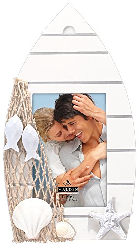 Malden International Designs Shoreline Wood Boat with Seashell and Netting Attachments Picture Frame, 4x6, White
