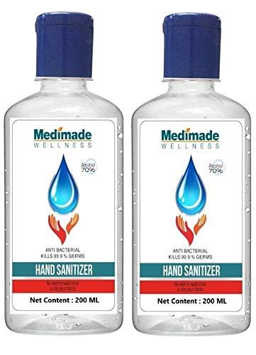 Medimade 200 ml Sanitizer (Pack of 2) - 70% Alcohol, FDA Approved