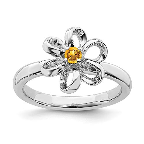 Yellow Citrine Flower Band Ring Size 7.00 Flowers/leaf Stackable Gemstone Birthstone November Fine Jewelry Gifts For Women For Her ()