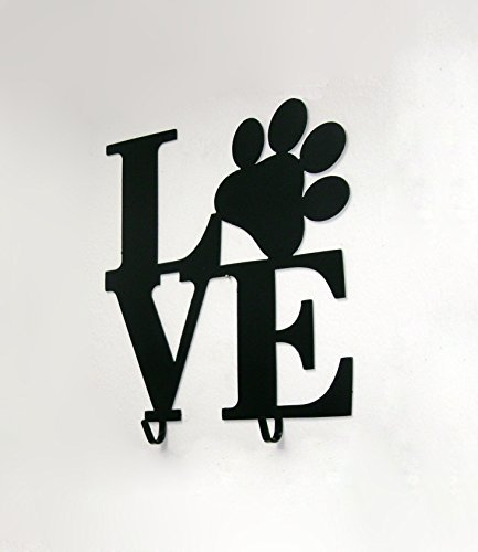 Reflective Edge Designs Puppy Love Paw Print Metal Leash and Key Holder with 2 Hooks
