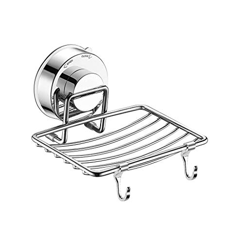 SUJING Soap Dish Sponge Holder with Hook, Suction Soap Dish Holder, Bar Soap Sponge Holder, Kitchen Wall Mounted Stainless Steel Soap Holder ()