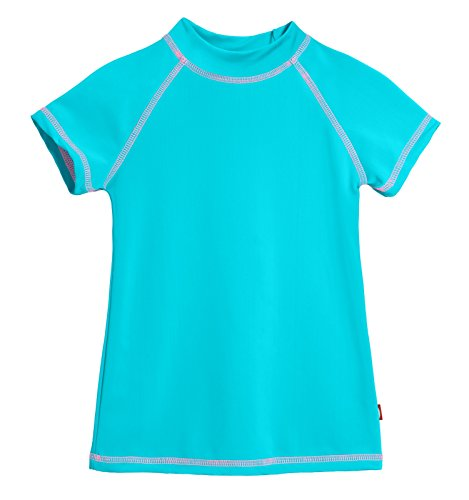(City Threads SS Little Girls' Rashguard Swimming Suit Swim Tshirt Tee UPF50+ Sun Protection for Beach Pool Summer Fun, SS Turquoise/Pink,)