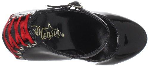 PleaserDelight-687Fh - Zapatos de Cordones Mujer - Blk Pat/Blk (Red Lace)