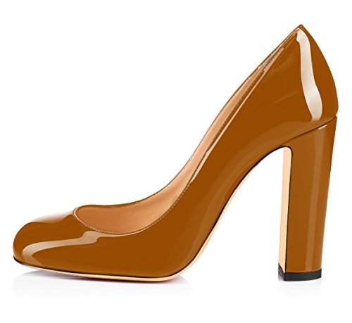 uBeauty Womens High Block Heel Courts Shoes Round Toe Pumps Slip on Basic Shoes Closed Toe Sandals Party Brown