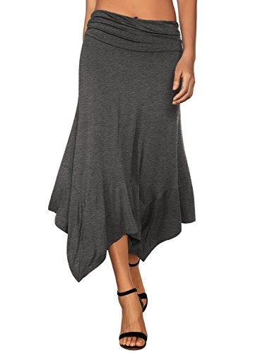 DJT Women's Flowy Handkerchief Hemline Midi Skirt Medium Heather Grey