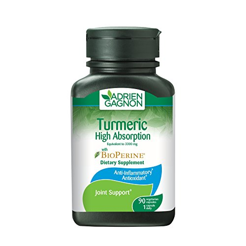 Adrien Gagnon - Tumeric (High Absorption) with Bioperine, 3300 mg, Helps Relieve Muscular Pain and Joints Pain, 90 Vegetarian Capsules