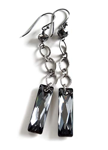 Black Night Earrings with Swarovski Crystal, Long Modern Geometric Chain Earrings