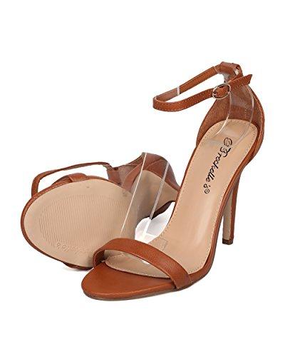 Breckelles Women Leatherette Stiletto Sandal - Wedding, Dressy, Formal - Ankle Strap Heel - GF04 by Tan