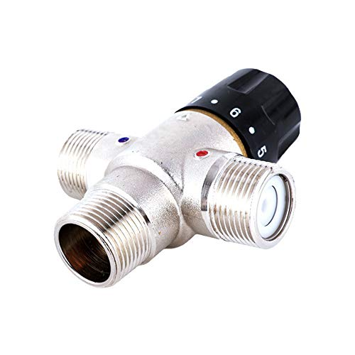 LYY DN15/20 Brass Nickel Plated Constant Temperature Water Mixing Valve, Stable Outlet Temperature, Can Prevent Scald with Water,DN15