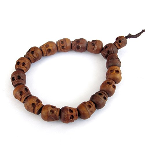 Wrist Mala (Jujube Wood Carved Skull Beads Buddhist Prayer Wrist Mala Bracelet)