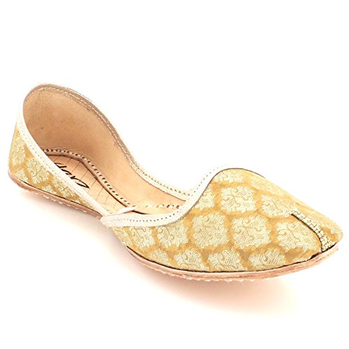 AARZ LONDON Women Ladies Traditional Ethnic Bridal Handmade Leather Flat Khussa Indian Jutti Mojari Pumps Slip On Shoes Size Gold oeZ6NNtqNL
