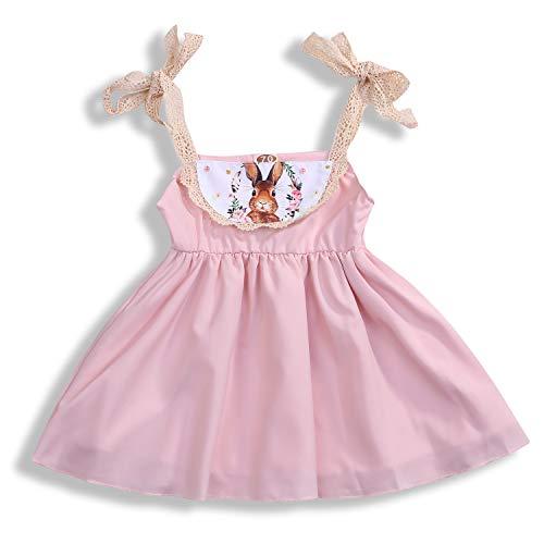 Toddler Girl Clothes Sets Pink Lace Off-The-Shoulder Easter Lovely Bunny Dress Summer (Pink, 6-12 Months)]()