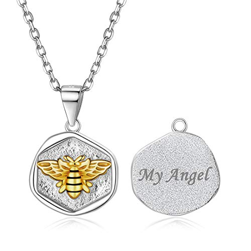 Men Women Personalized Bee Coin Necklace 925 Sterling Silver Customized Name Engraved Pendant Necklace Jewelry Gift for Mother's Day ()