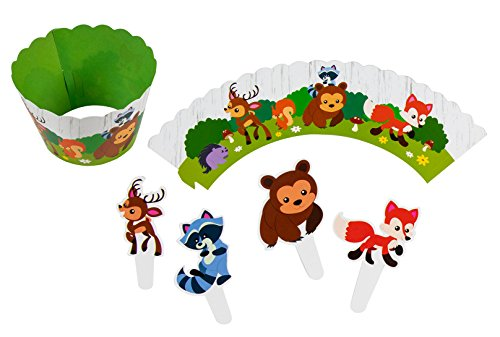 Animal Cupcake Toppers and Liners - 102-Piece Woodland Safari Cupcake Wrappers Baking Supplies, Kids Birthday Party Favors for Cake and Muffin Decorations, Raccoon, Fox, Bear, and Deer