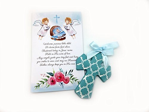 Child Card Prayer Personalized (Christening Gifts For Boys Gift Set Blue Cross for Baby Boys and Baptism Prayer Card for Boys Great Baptism Gifts for Girls from Godmother)