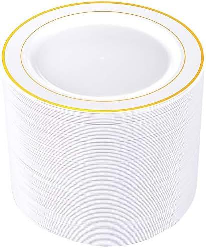 80pcs Plastic Gold Plates, 9
