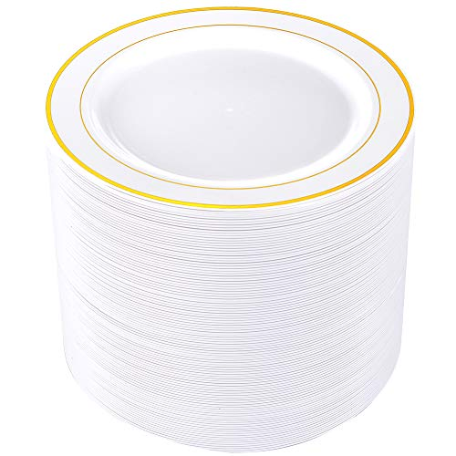 Gold Trim Dinner Plate - 80pcs Plastic Gold Plates, 9