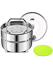 HapWay Stackable Steamer Insert Pans with Upgraded Silicon Handle Sling and Insulation Mat - Compatible with 5/6/8 qt Instant Pot, Pressure Cooker