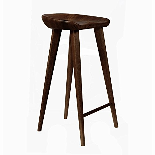 Tractor Contemporary Carved Wood Barstool - Espresso Finish