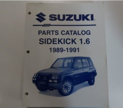 1989 90 1991 Suzuki Sidekick 1.6L Parts Catalog Manual FACTORY OEM APRIL DEAL