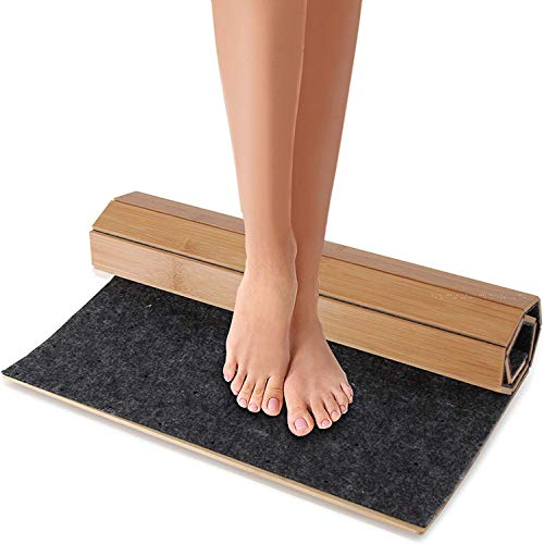 Bamboo Bath Mat Floor Rug Waterproof And Weather Resistant Natural Wood Bathroom Shower Foot Carpet With Multi Panel Strip Foldable Roll Up Non Slip Fabric For Indoor Use Serenelife Slfbmt20