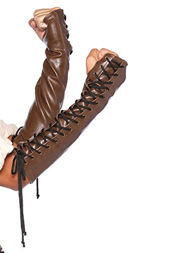 Leg Avenue Women's Lace Up Arm Warmer, Brown, Medium/Large