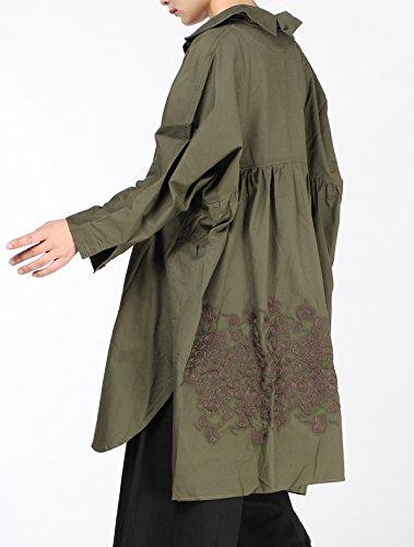Vogstyle Camisa con espalda bordada, holgada Style-2 Green