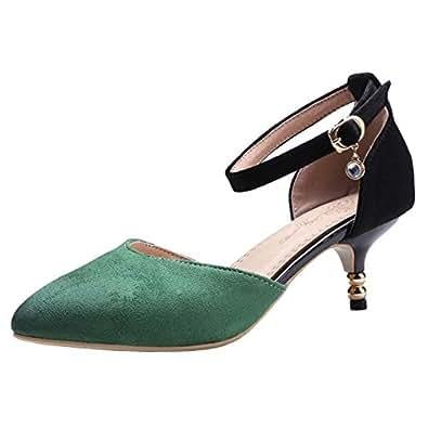 JOJONUNU Women Fashion Pointed Toe Sandals Kitten Heel Ankle Strap Green Size 32 Asian