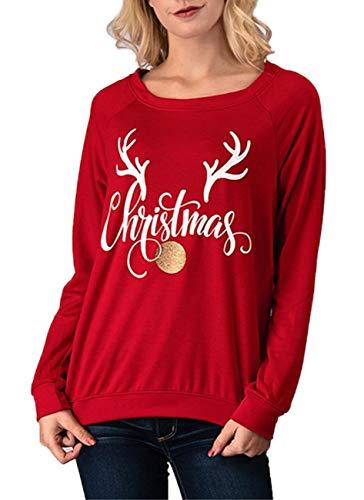 efa0bb8211230 BLUETIME Women s Ugly Funny Christmas Holidy Elk Print Long Sleeve T-Shirt  Tops Blouse