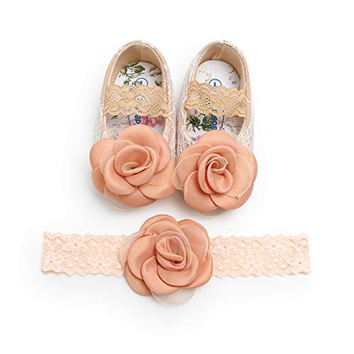 (Kuner Toddler Baby Girls Shoes Soft Soled Wedding Shoes Ballerina Girls Lace Flower Shoes with Bow Ribbon (12cm(6-12months),)