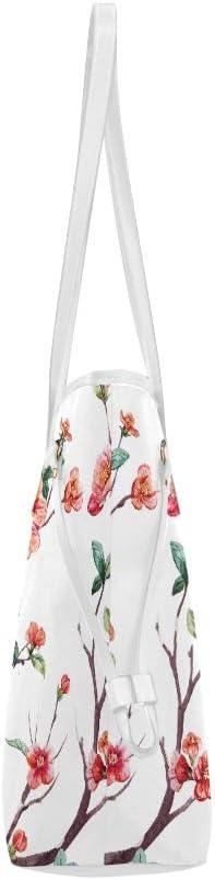 Work Shoulder Bag Watercolor Floral Cherry Flowering Trees Weekend Tote Bag Ladys Handbags Large Capacity Water Resistant with Durable Handle