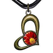 GiftJewelryShop Bronze Retro Style Orange Daisy Hollow Love Heart Round Charm Pendant Necklace