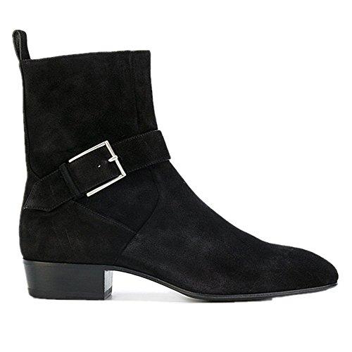 Chelsea Boots Mens Suede Moto Nero Abito Stivali Stivaletti Scarpe Formali (us 11)