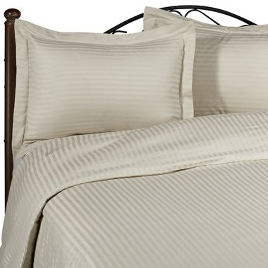 Beige Stripe Full Size Bed Sheet Set - 300 Thread 100% Egyptian Cotton [Fitted Sheet + Flat Sheet + 2 pillowcases]