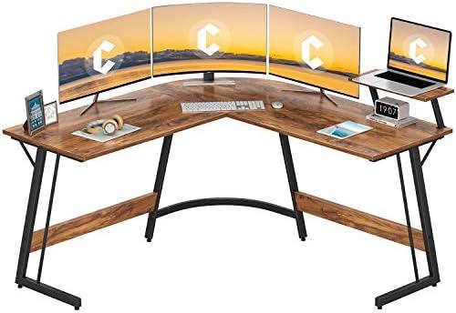 Cubiker Modern L-Shaped Desk Computer Corner Desk, PC Laptop Writing Study Desk for Home Office Wood & Metal, Dark Rustic