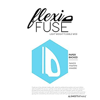 "25 Sheets (8"" x 10.5"") - FlexiFuse Lightweight Fusible Web for Applique"