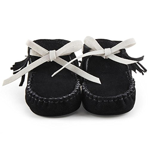 Hunpta Baby Kleinkind Säugling Neugeborenes Prewalker Stiefel Quaste Schuhe weiche Sohle Schwarz